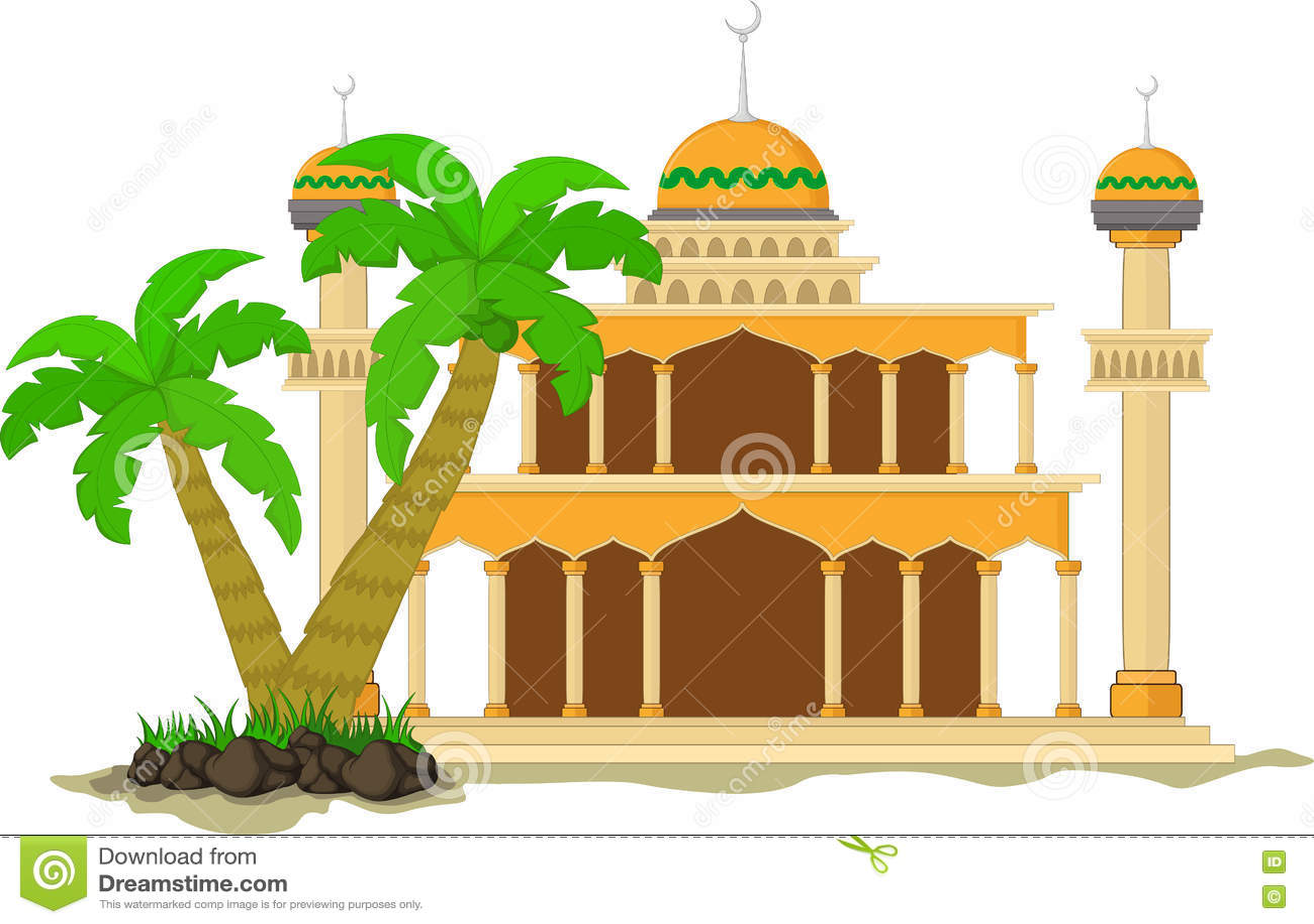 A mesquita muçulmana isolou a fachada lisa no fundo branco Plano com objeto da arquitetura das sombras Projeto dos desenhos anima