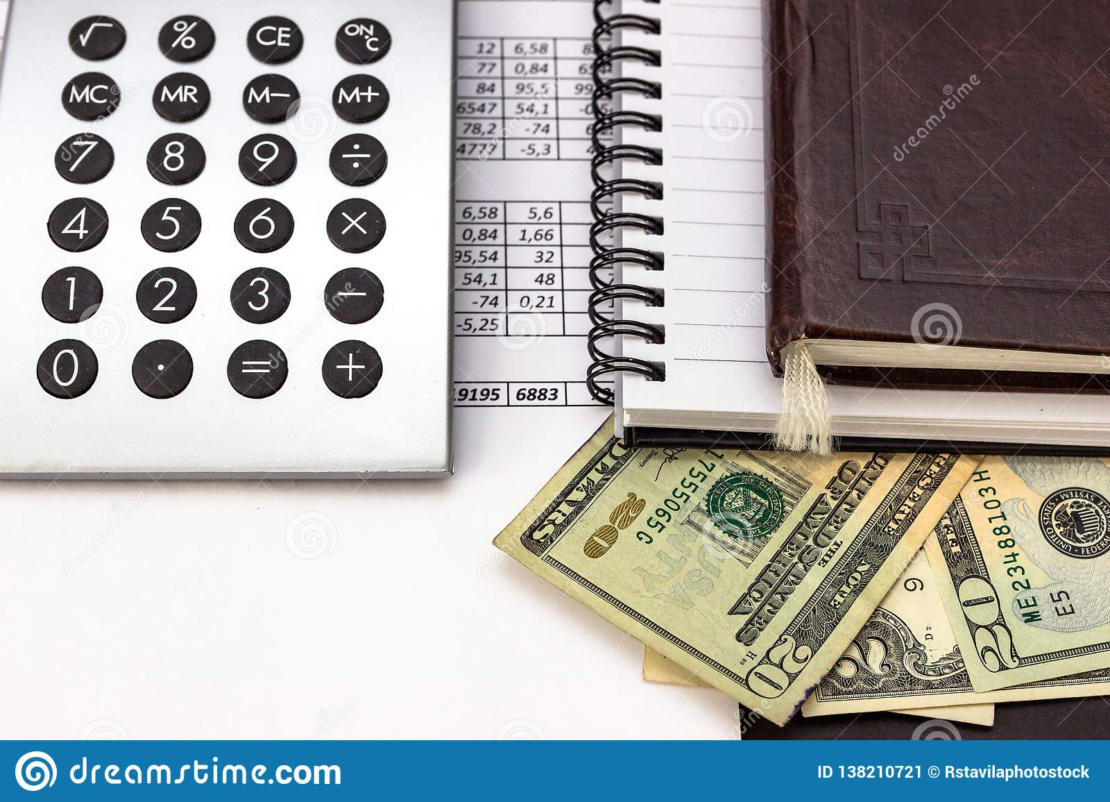 Mess on your desktop. Calculator, notebook, documents, Bitcoin, USD, paper money, office supplies