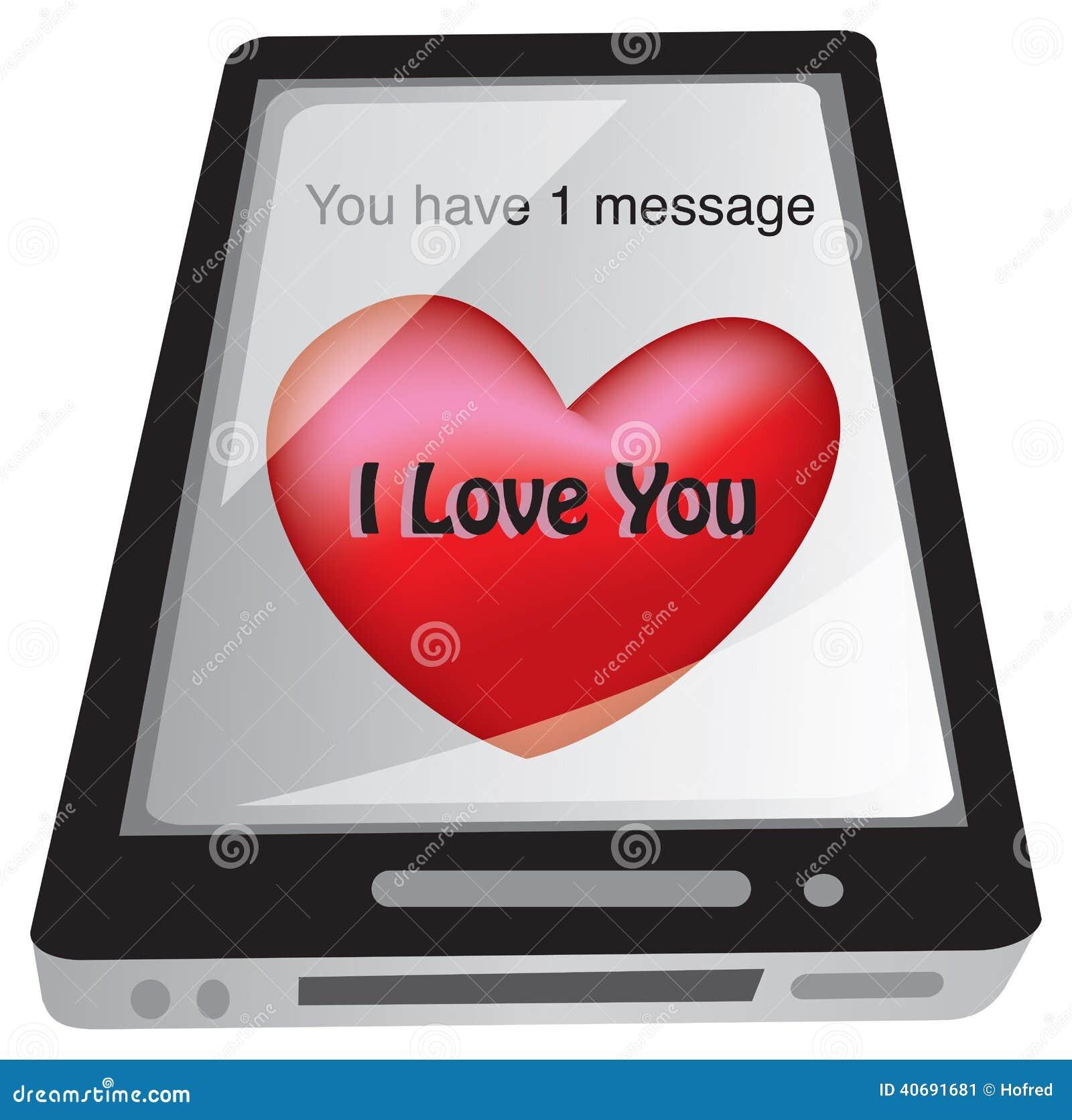 message d 39 amour de sms au t l phone intelligent illustration de vecteur image 40691681. Black Bedroom Furniture Sets. Home Design Ideas