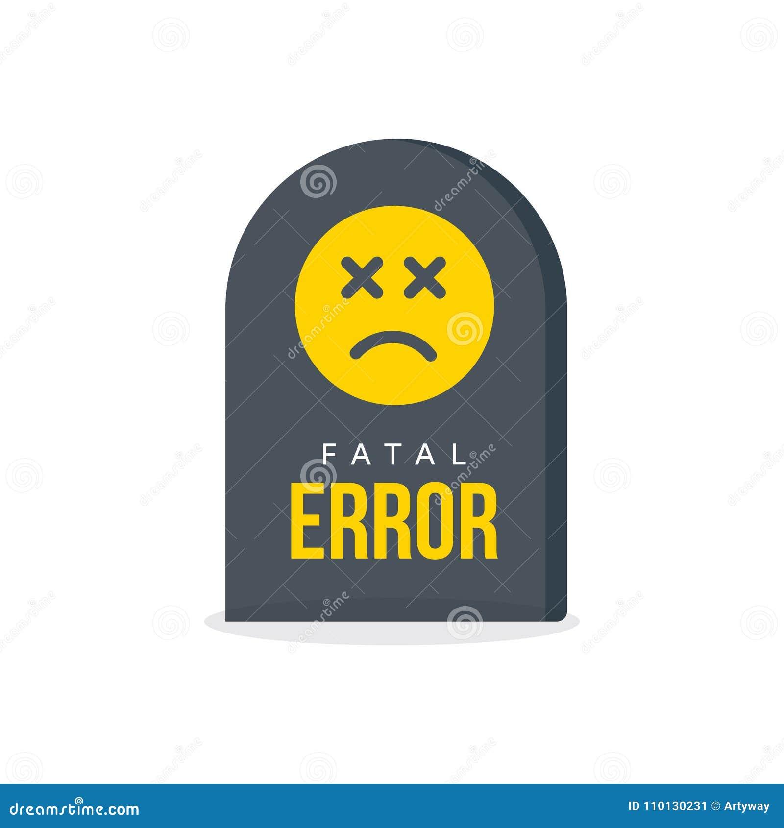 Message d erreur bloquante Pierre tombale, l information d avertissement, icône d échouer d ordinateur Symbole drôle d accident d
