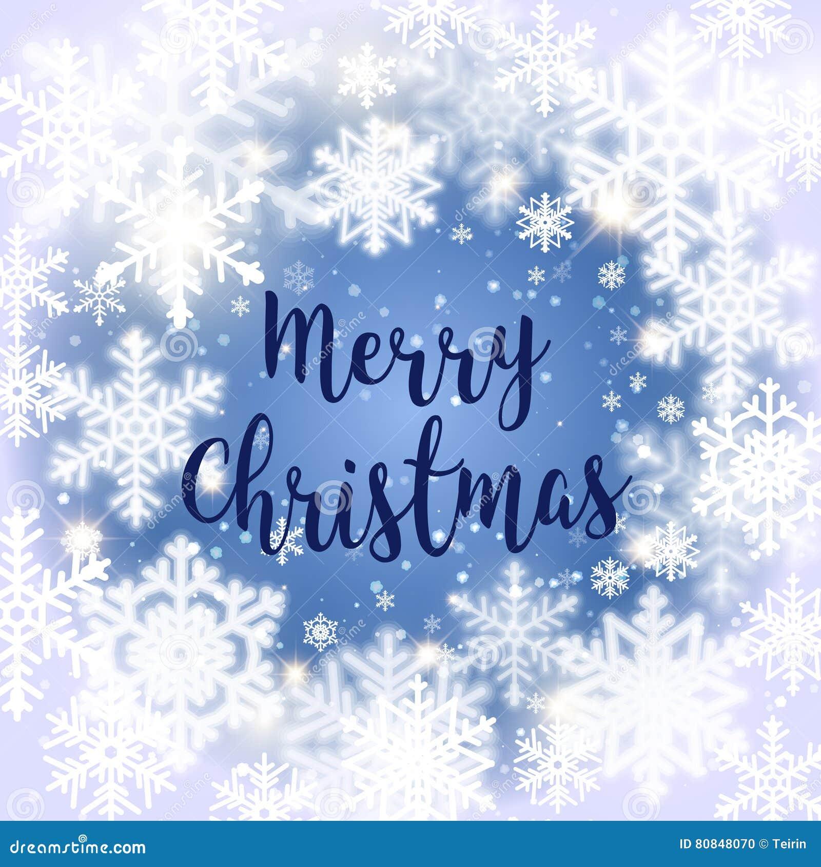 Message De Joyeux Noël Et Fond De Lumière Avec Des Flocons