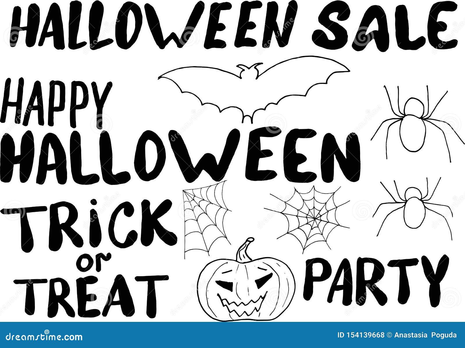 Message heureux de dessin de main de Halloween avec des éléments pour la conception - batte, potiron, araignée et toile d araigné