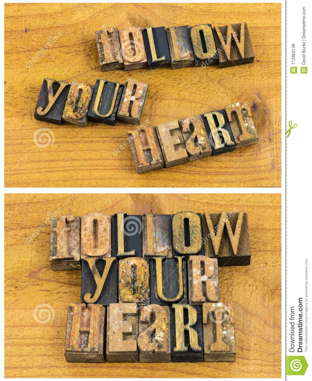 Message Love Follow Your Heart Hearts Desire Letterpress Wooden Block Letters Words Inspirational