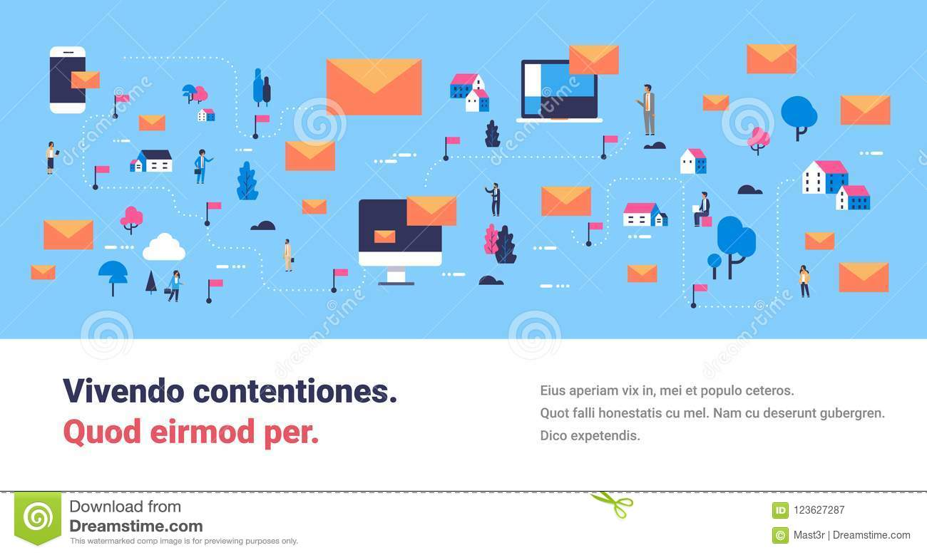 Message mobile computer application messenger people communication map isometric concept online mail envelope horizontal