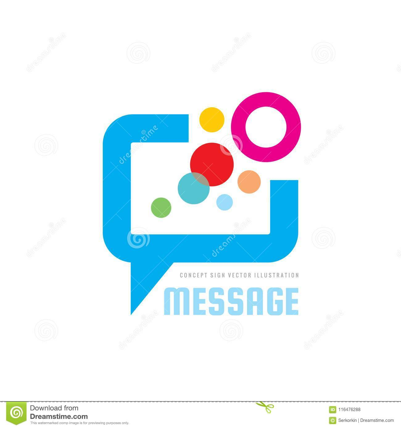Message - speech bubbles vector logo concept illustration in flat style. Dialogue talking icon. Chat sign. Social media symbol.