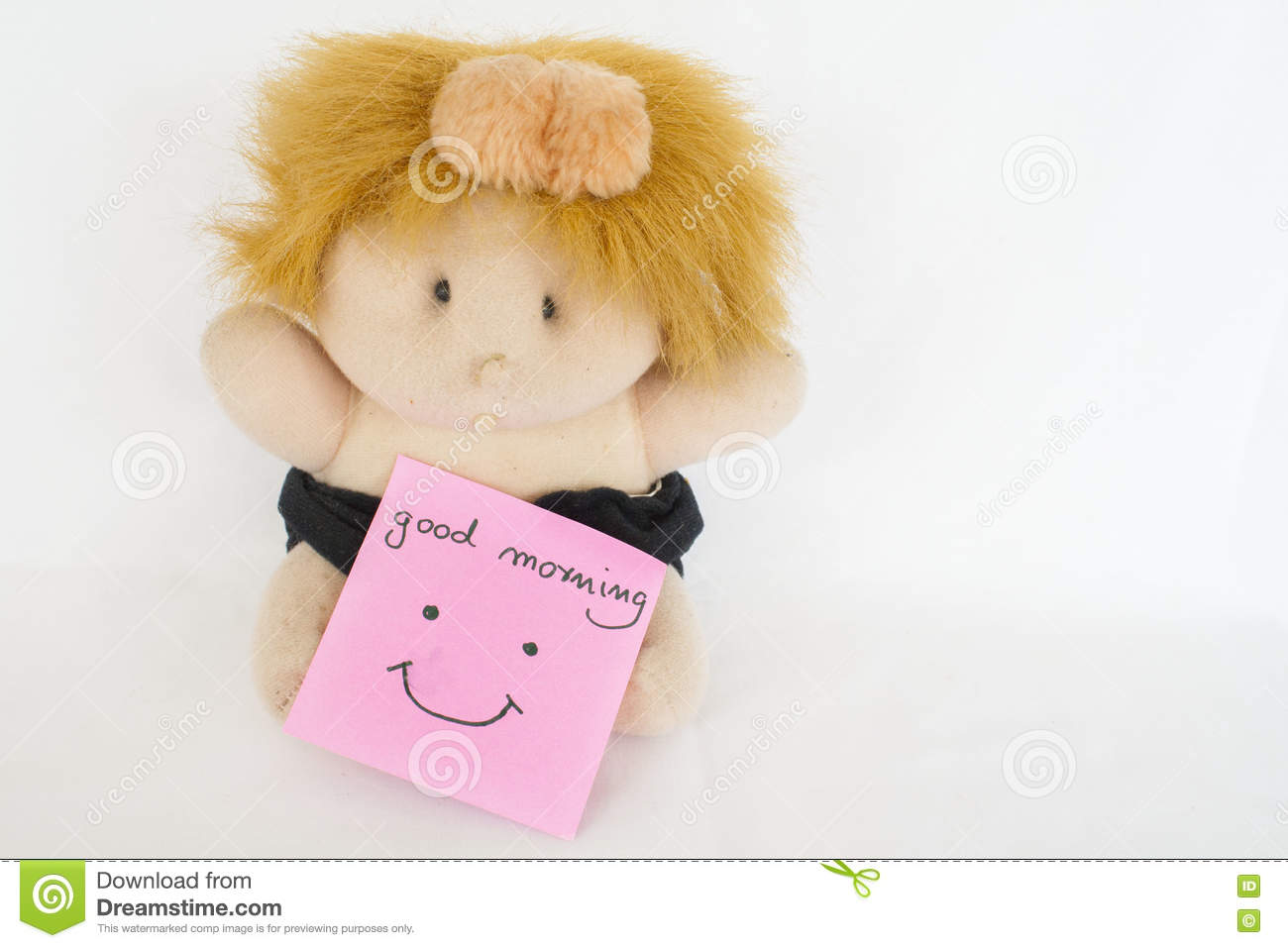 Messages Card And Baby Doll Stock Photo Image Of Longhand Night