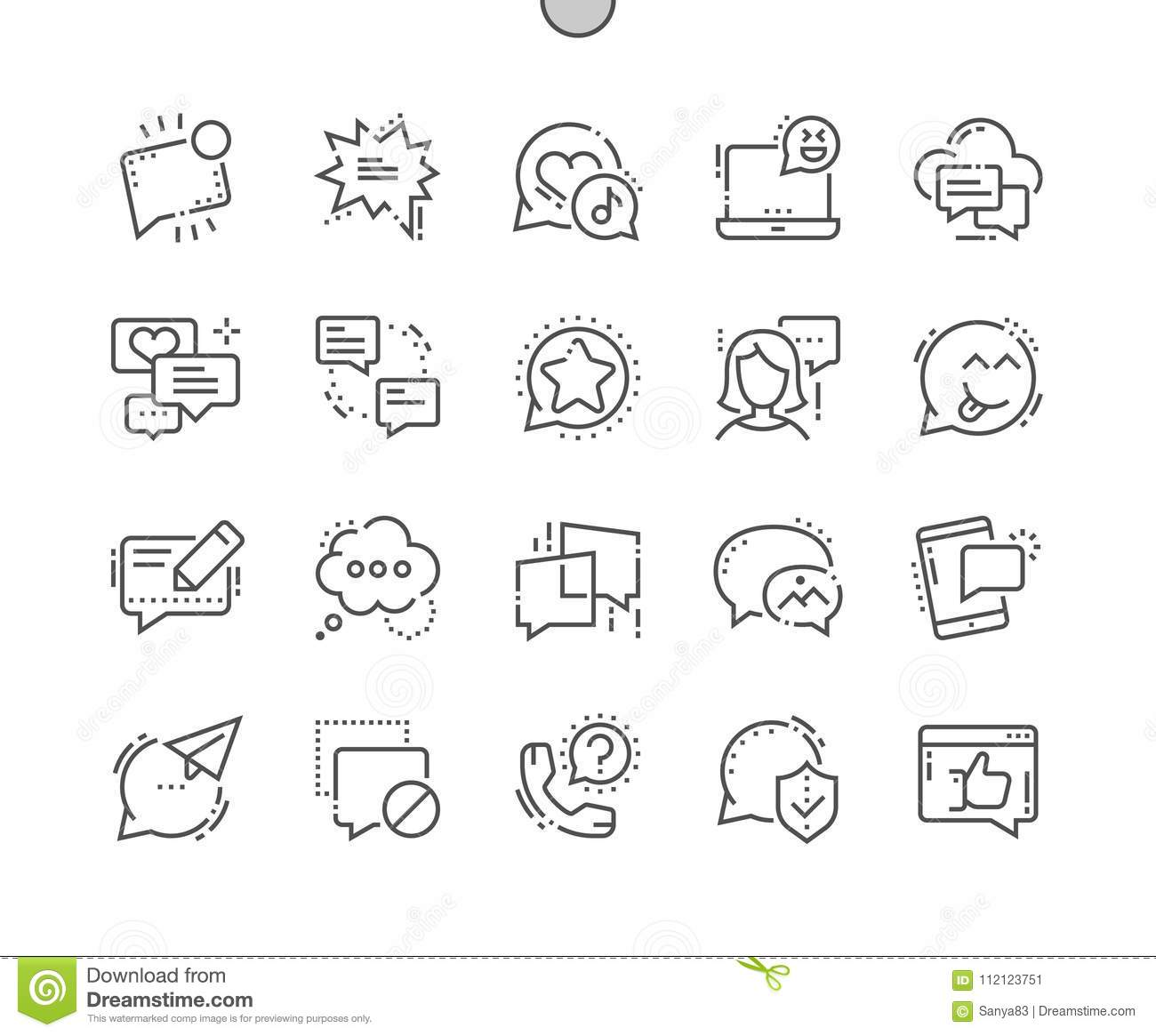Messages Well-crafted Pixel Perfect Vector Thin Line Icons 30 2x
