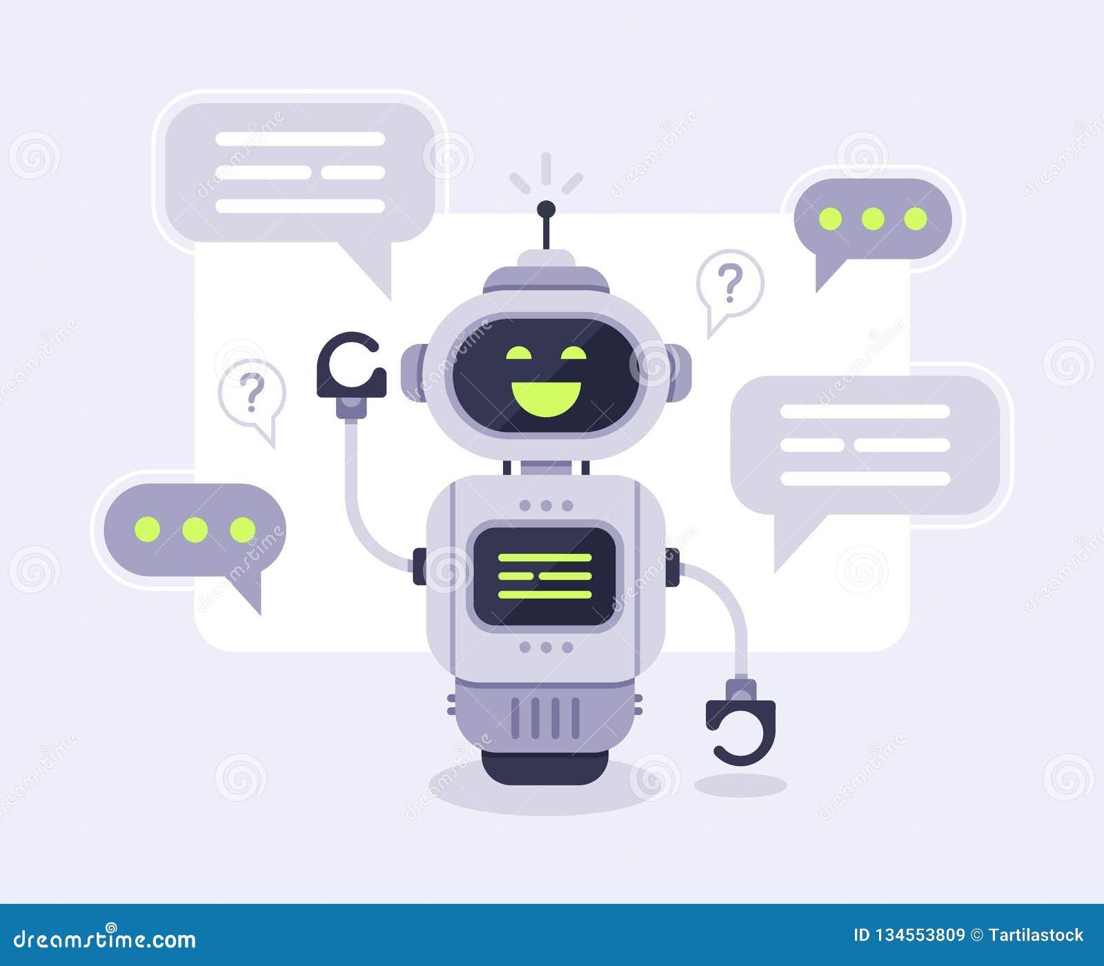 Messaggi del bot di chiacchierata Conversazione di aiuto del chatbot astuto, robot online del servizio clienti e parlare per lavo