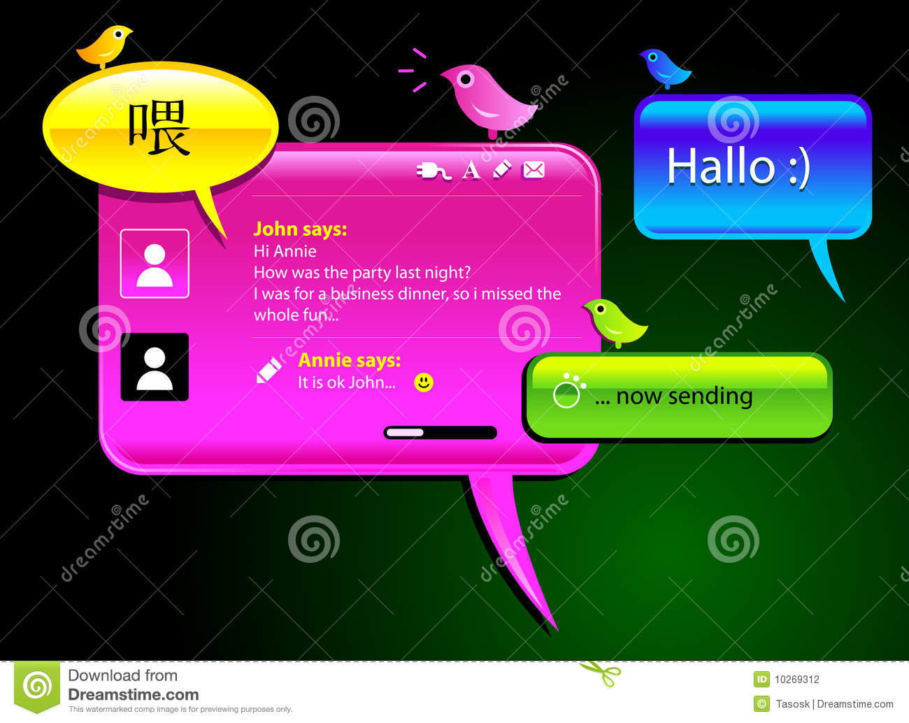 Instant Message Cartoon : Instant messaging application editorial photo