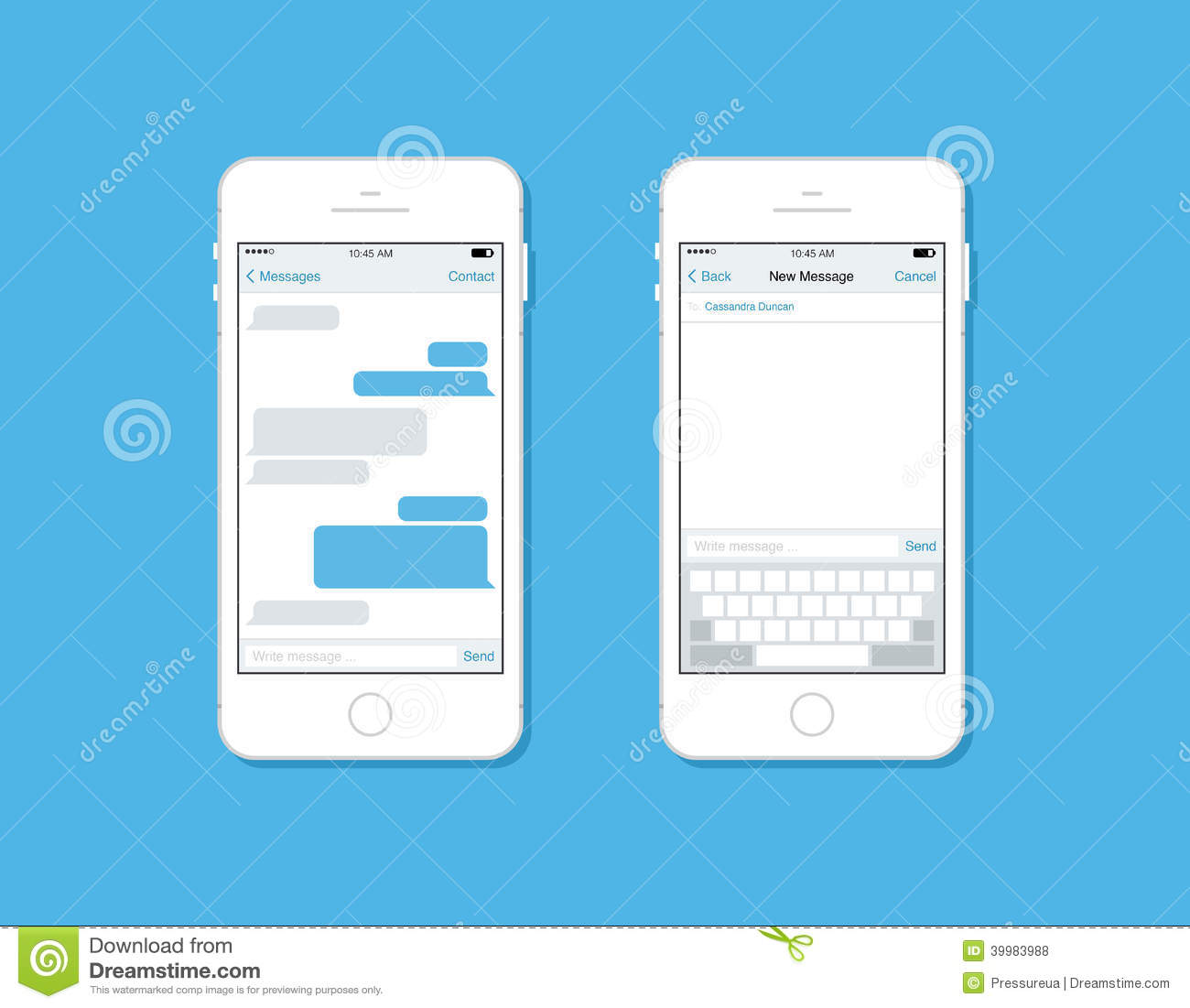 messaging and chatting on mobile phone vector template stock vector illustration of blank. Black Bedroom Furniture Sets. Home Design Ideas