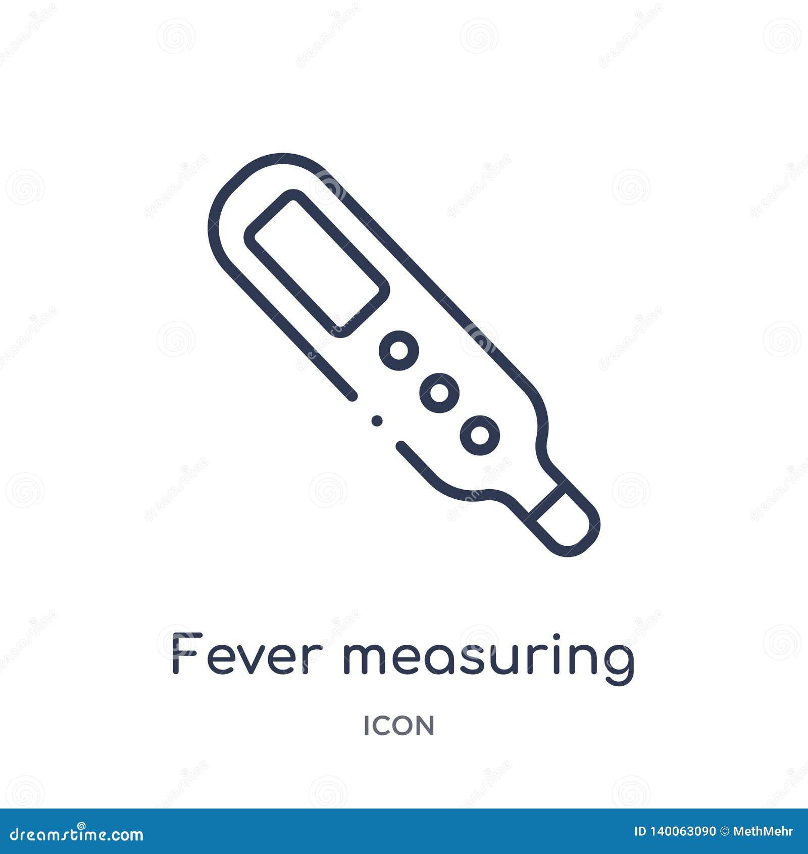 Messende Ikone des linearen Fiebers von der Maßentwurfssammlung Dünne Linie messende Ikone des Fiebers lokalisiert auf weißem Hin