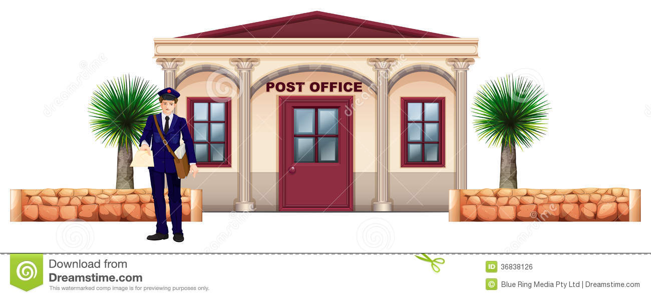 Cartoon Post Office Building Of the post office royalty