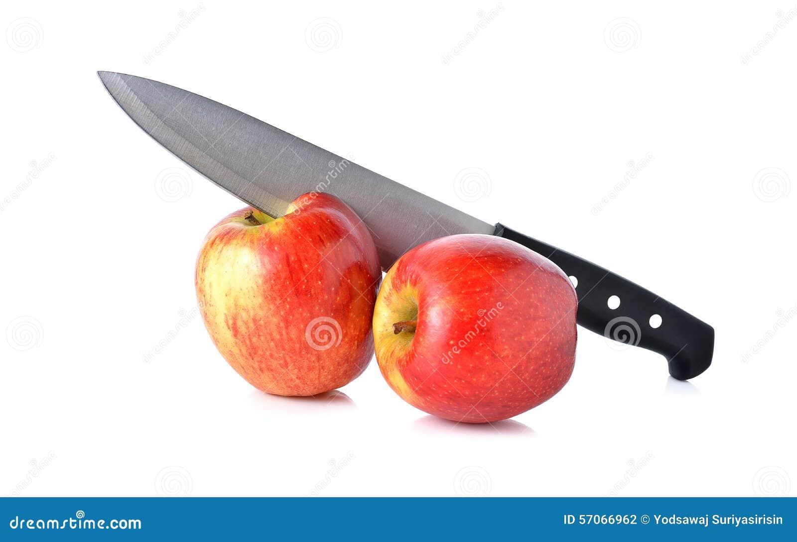Messenkarbonade op appel op wit
