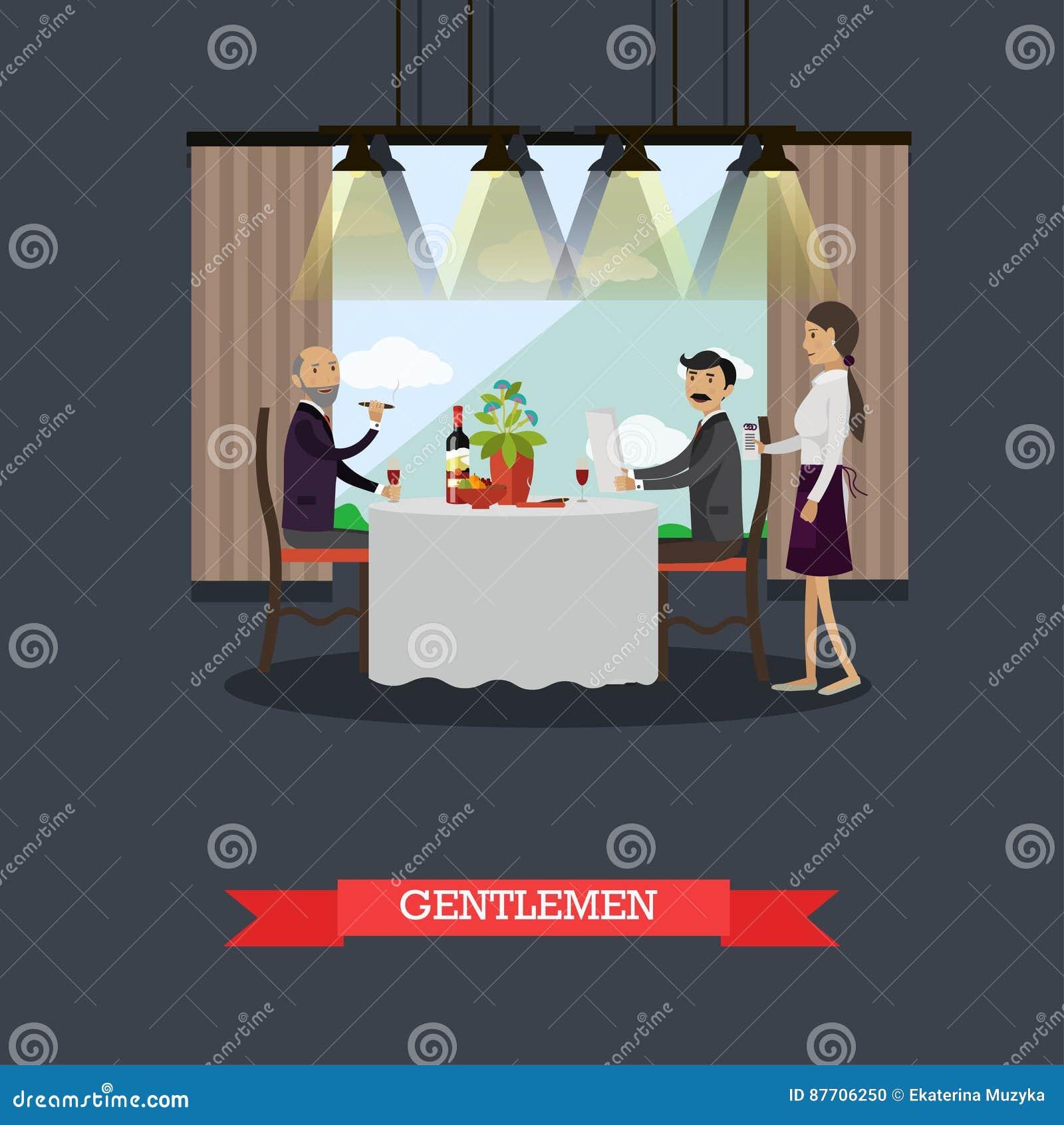Messieurs dans l illustration de vecteur de concept de restaurant dans le style plat