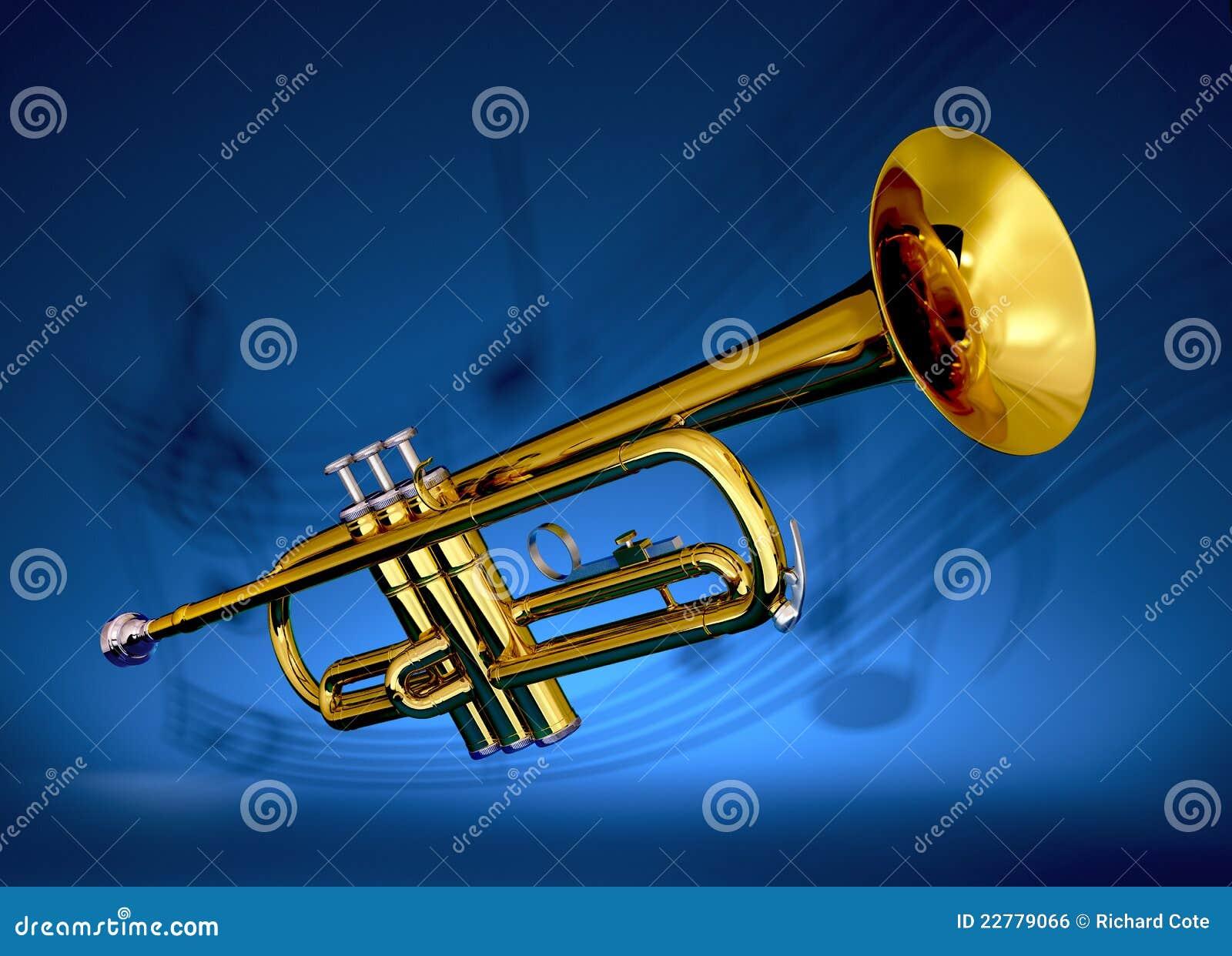 Messingtrompete mit musikalischem Hintergrund