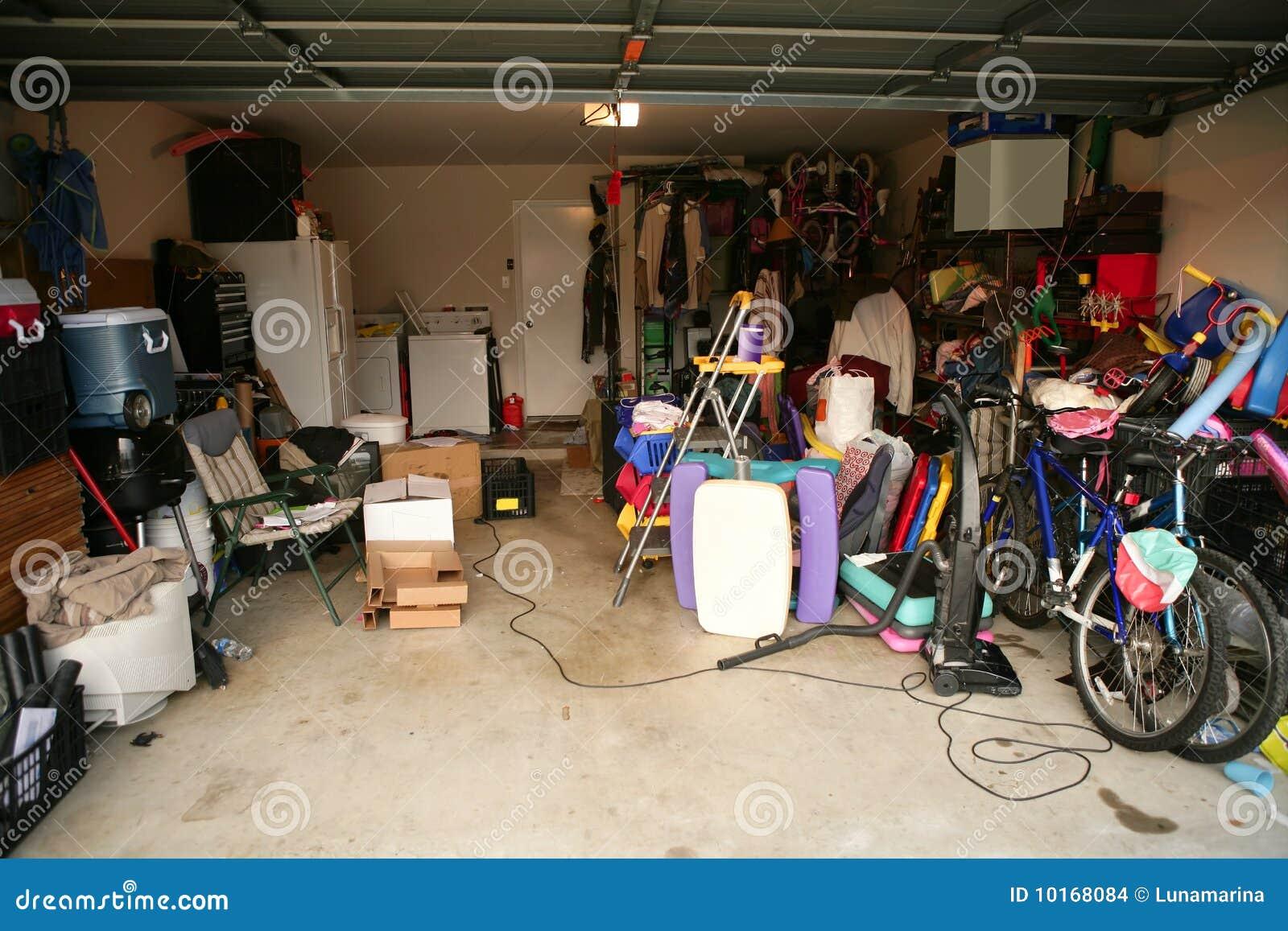 Messy Abandoned Garage Full Of Stuff Stock Images Image