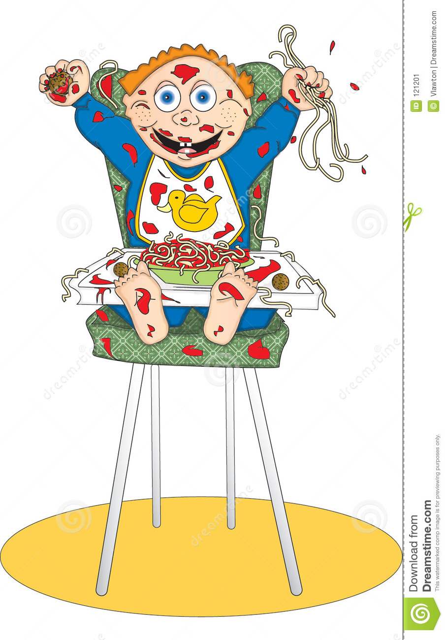 Baby with bowl of spaghetti and meatballs making a mess.