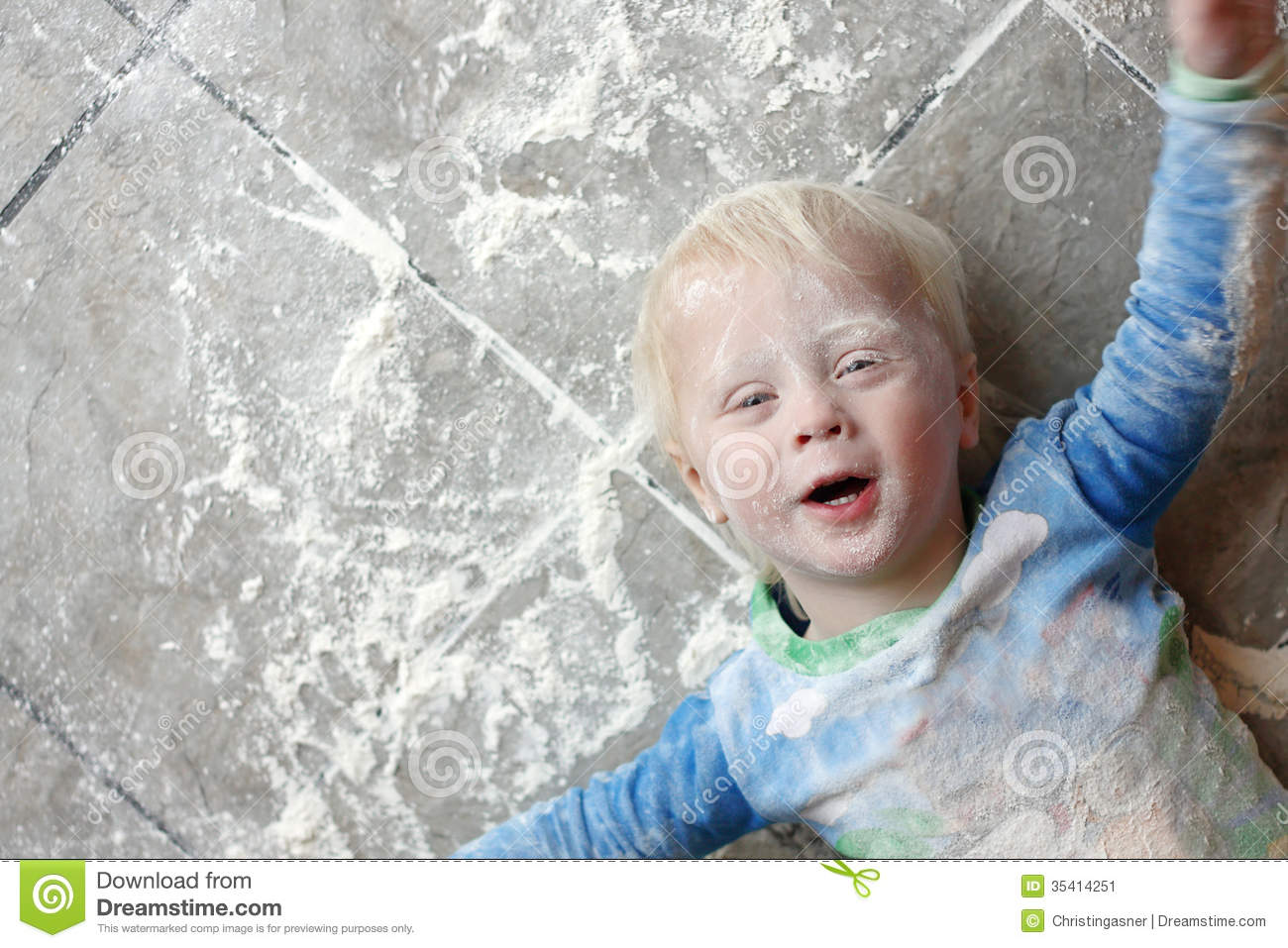 Messy baby covered in baking flour stock image image 35414251 - Very small space of time image ...