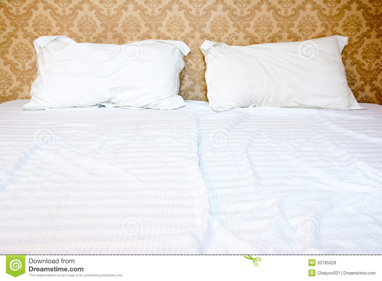 Messy Bed With Two Pillows Stock Image Image Of Bedroom