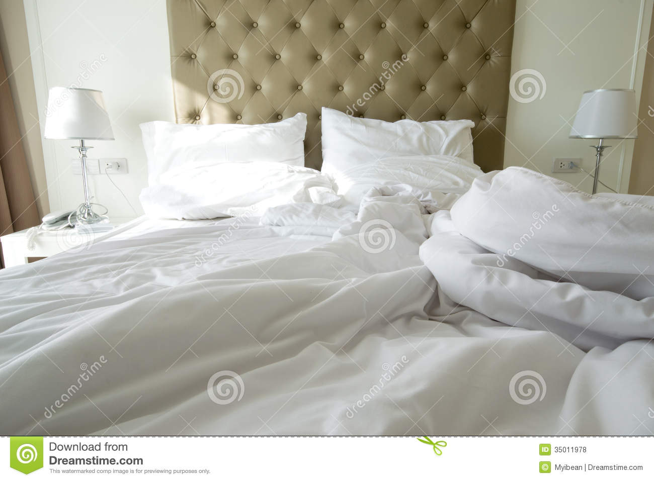 Messy Bedding Sheets And Pillow Royalty Free Stock Photos Image 35011978