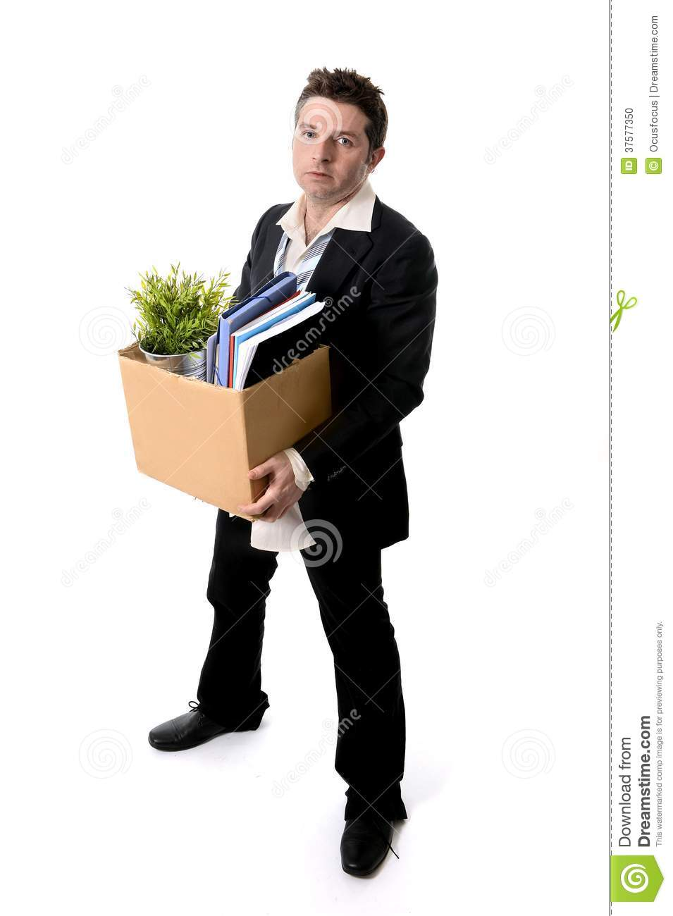Messy Business Man With Cardboard Box Fired From Job Stock Photo ...