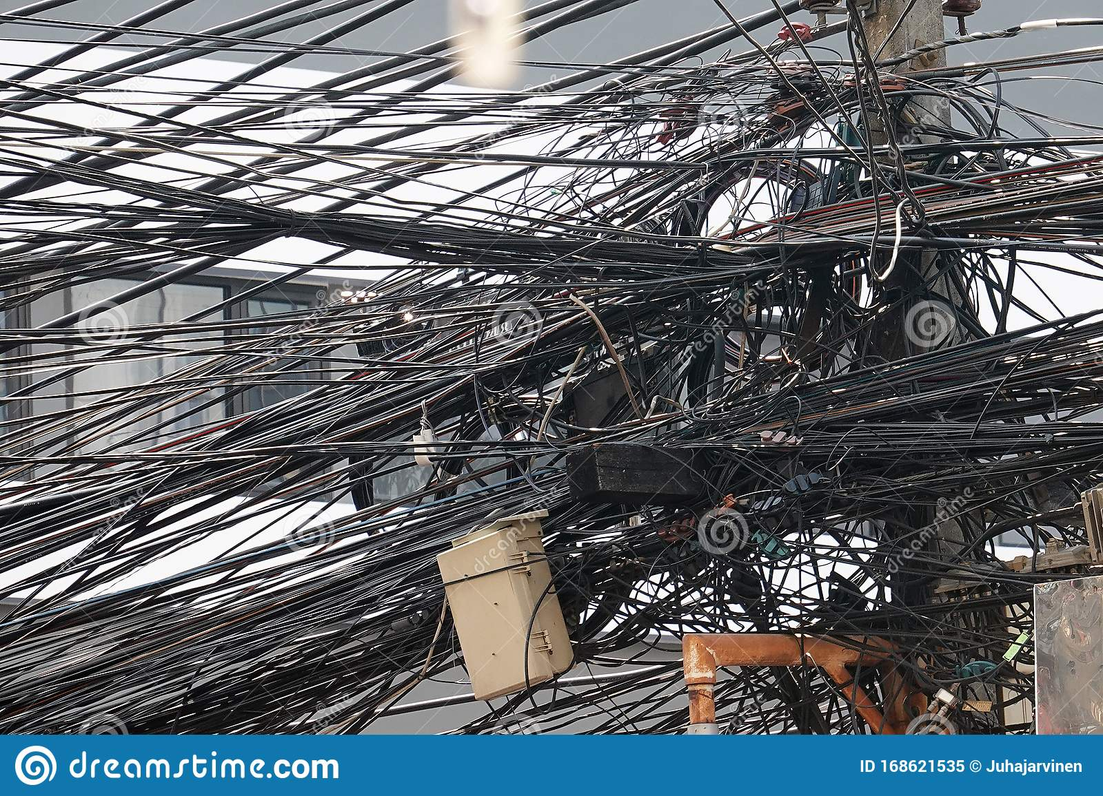 Messy Cables And Wires In Electric Pole Stock Image Image Of Confusion Pole 168621535