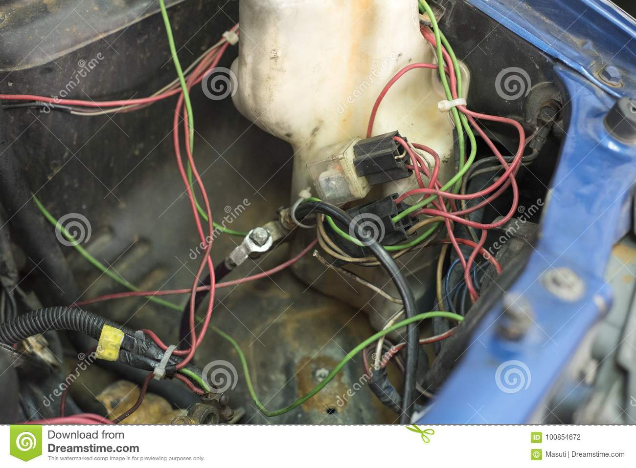 Messy Car Wiring Stock Photo Image Of Electric Battery 100854672 Electrical