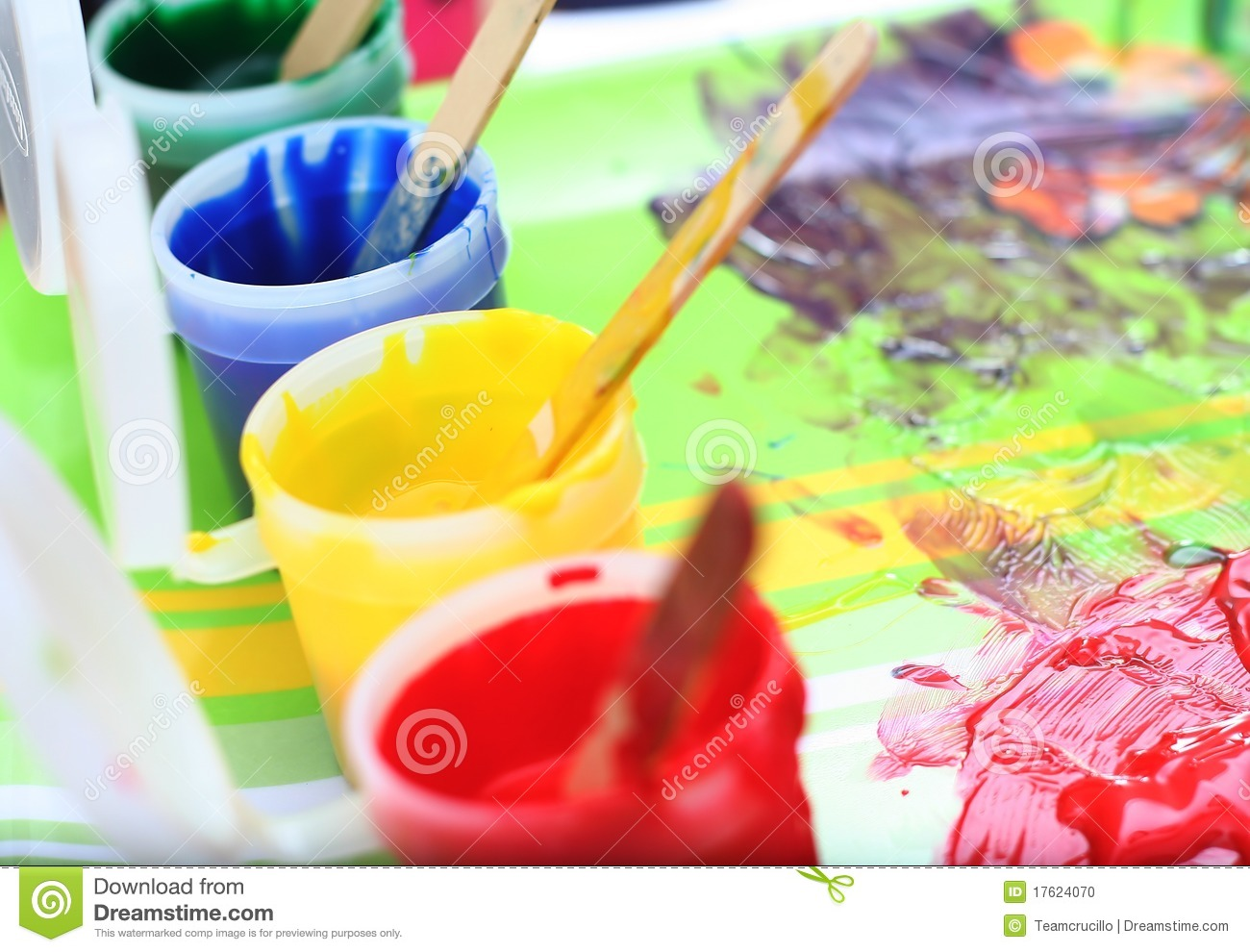 messy children 39 s paint set stock photo image 17624070