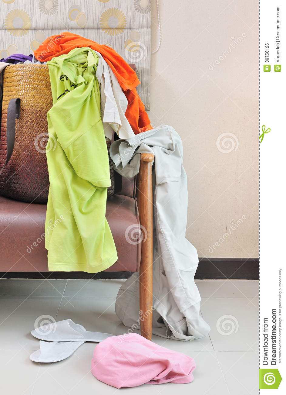 Tremendous Messy Clothes Scattered On A Leather Sofa Stock Image Onthecornerstone Fun Painted Chair Ideas Images Onthecornerstoneorg
