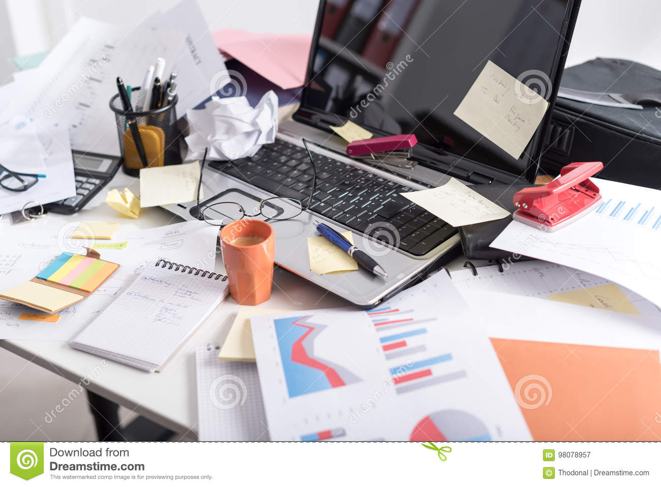 messy and cluttered desk stock image image of business 98078957