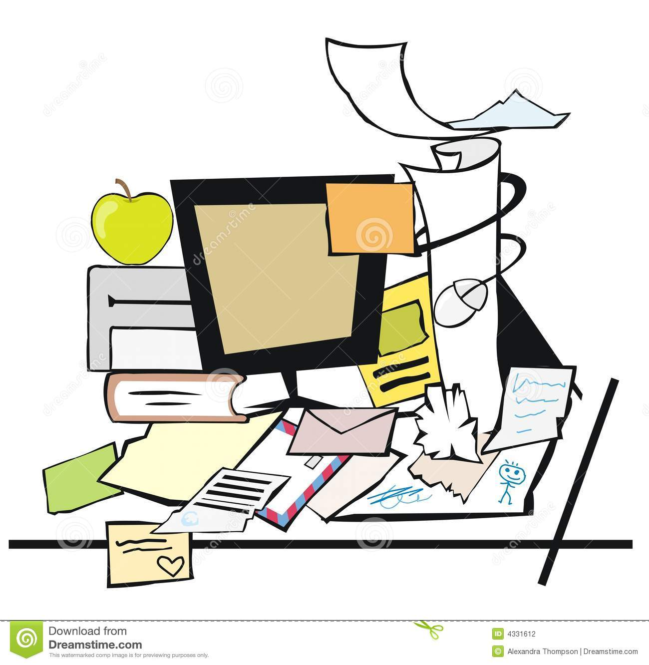 messy desk stock vector. illustration of study, desktop - 4331612