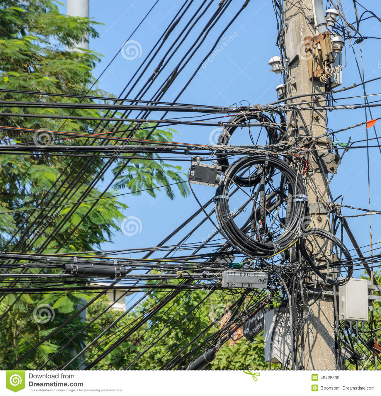 Messy Electric Cables On Pole Stock Image - Image: 49728639
