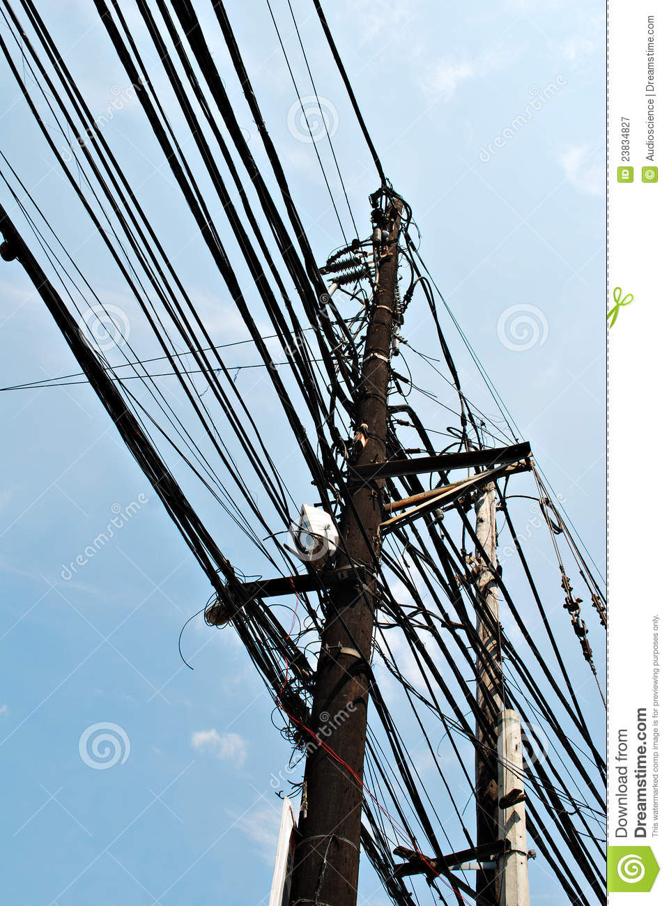 Messy Electric Pole Cable Lines Stock Image Image 23834827