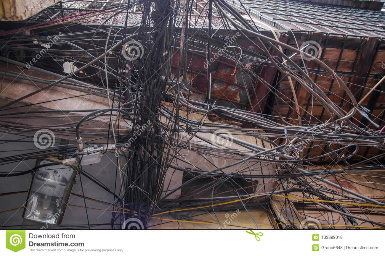 Superb Messy Electric Wiring Stock Photo Image Of Network 103899018 Wiring 101 Mecadwellnesstrialsorg