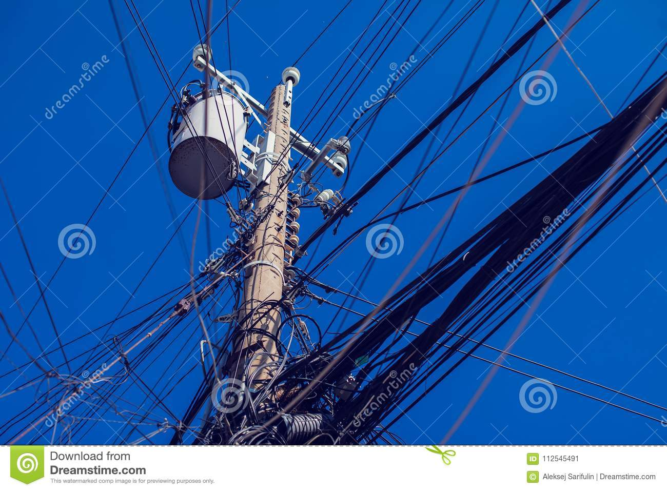 Messy Electric Wiring On The Pole Stock Image Of Electrical