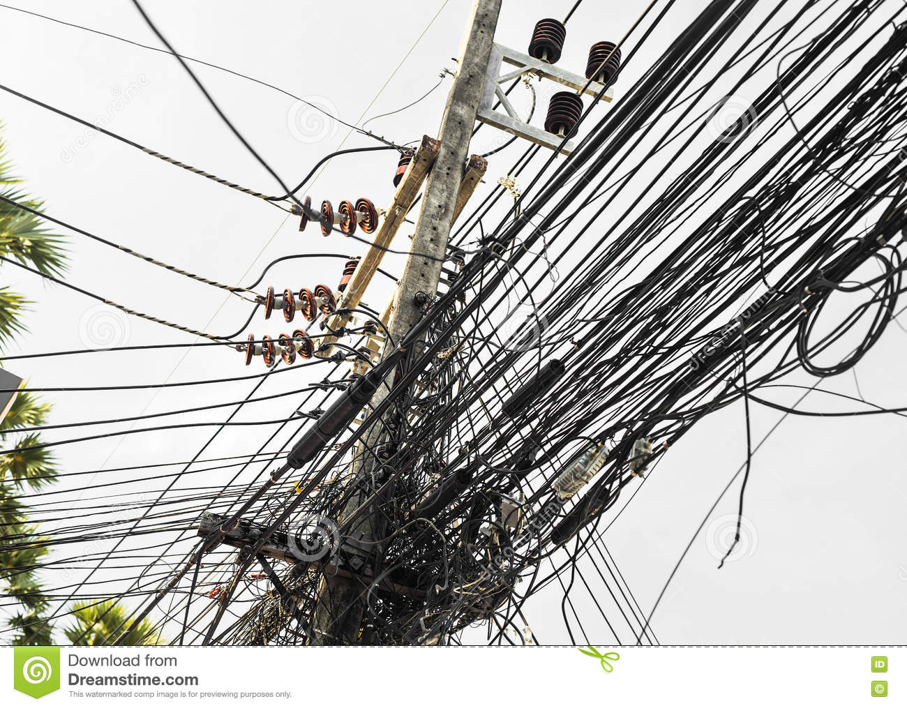 Messy Electrical Cables Wires Electric Pole Stock Images 220 Photos Free Photography Meter Installation In Thailand Uncovered Optical Fiber Technology Open Air Outdoors Asian Cities