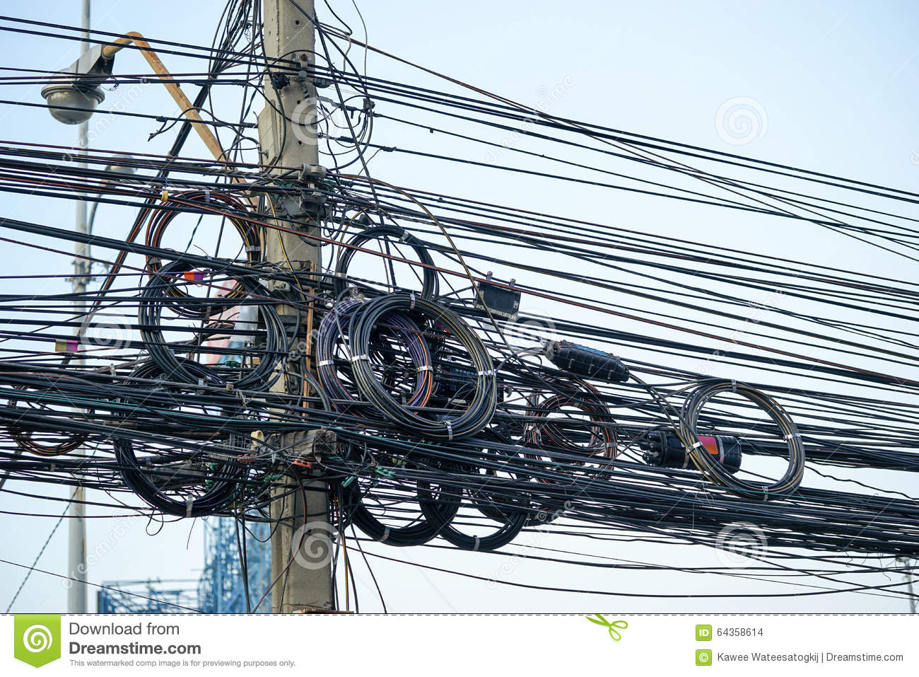 Messy Electrical Cables And Wires On Electric Pole Stock Photo ...