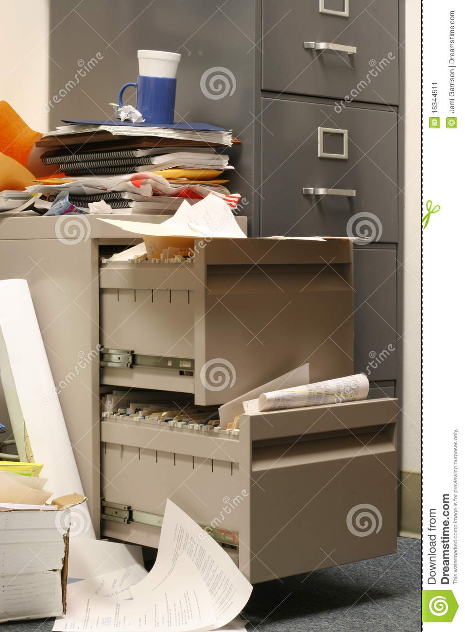 Messy Filing Cabinet Stock Image Image Of Compartment