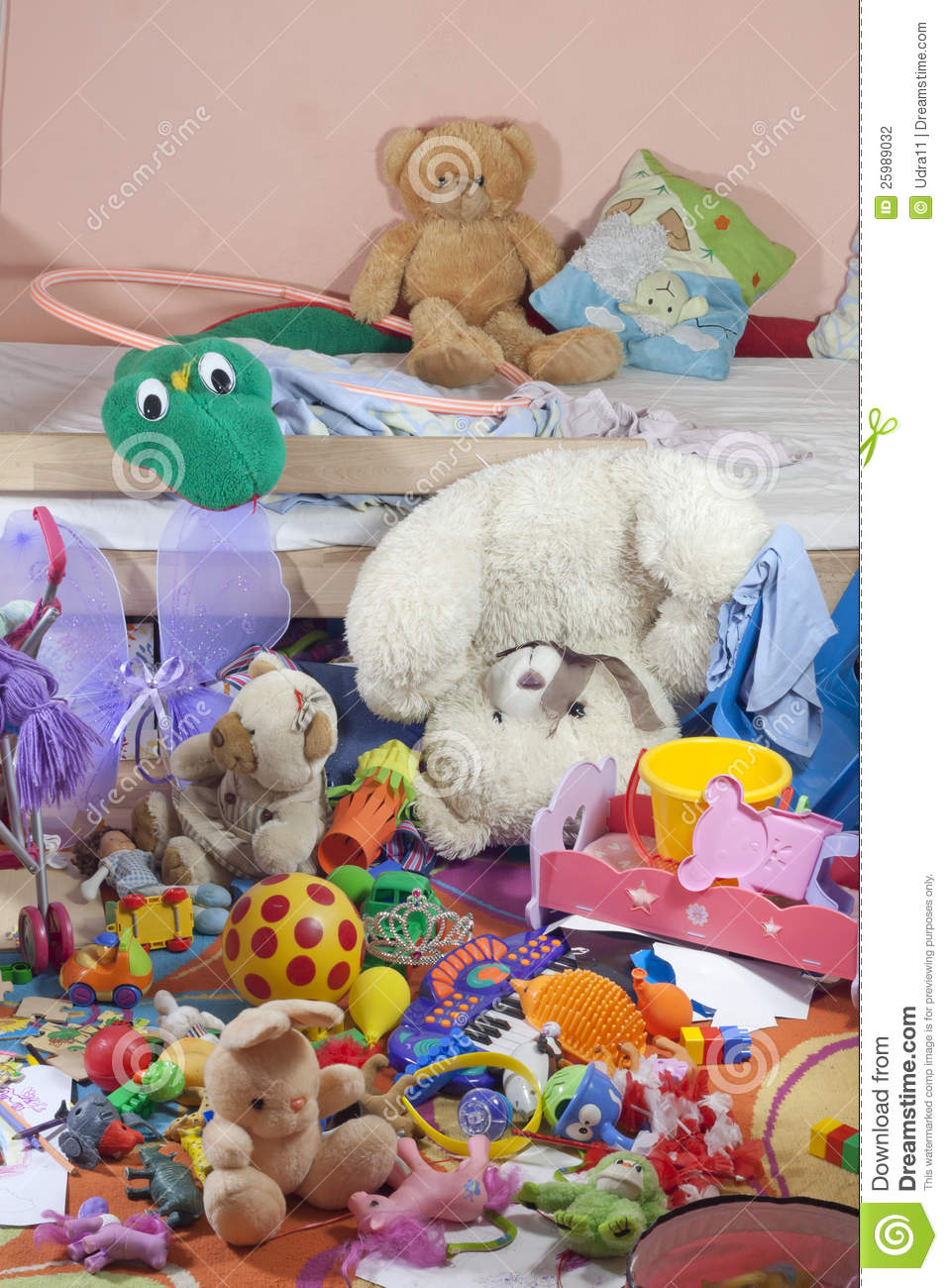 Toddler Toys Photography : Messy kids room with toys stock photography image