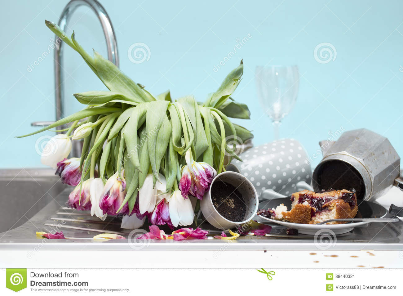 Messy Kitchen Close Up stock image. Image of interior - 88440321
