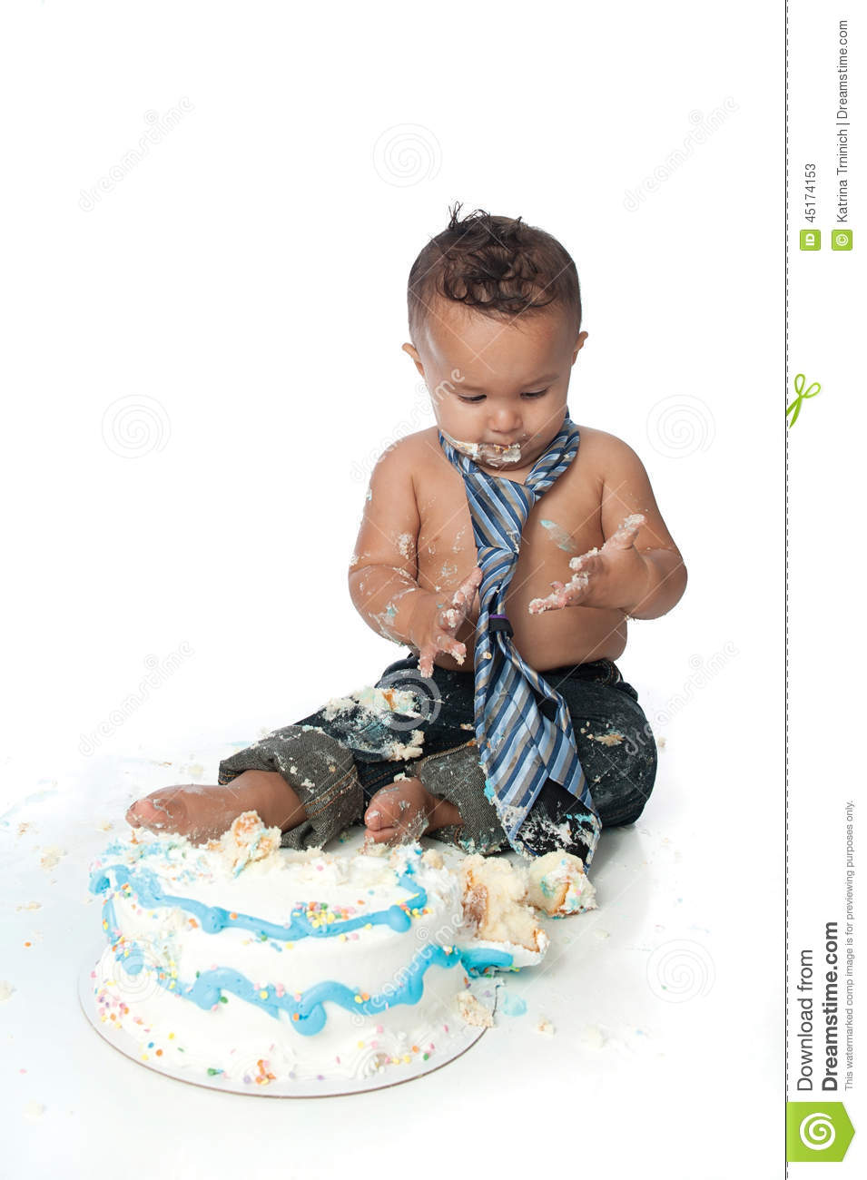 Groovy Messy One Year Old Boy With Birthday Cake Stock Image Image Of Personalised Birthday Cards Cominlily Jamesorg