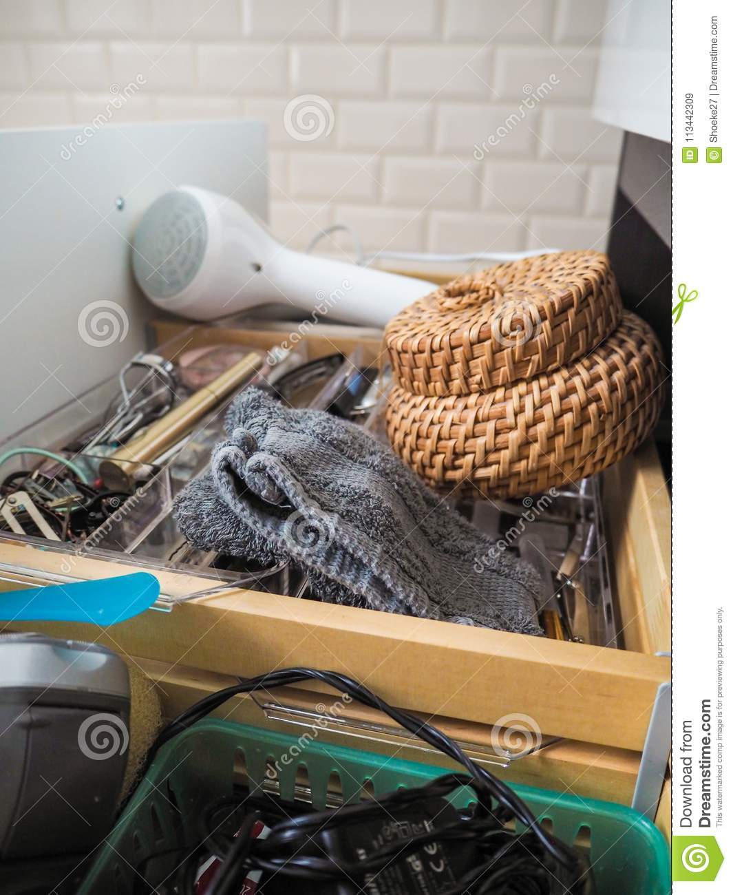 Messy Bathroom: Messy Open Bathroom Drawer Stock Image. Image Of Cabinet