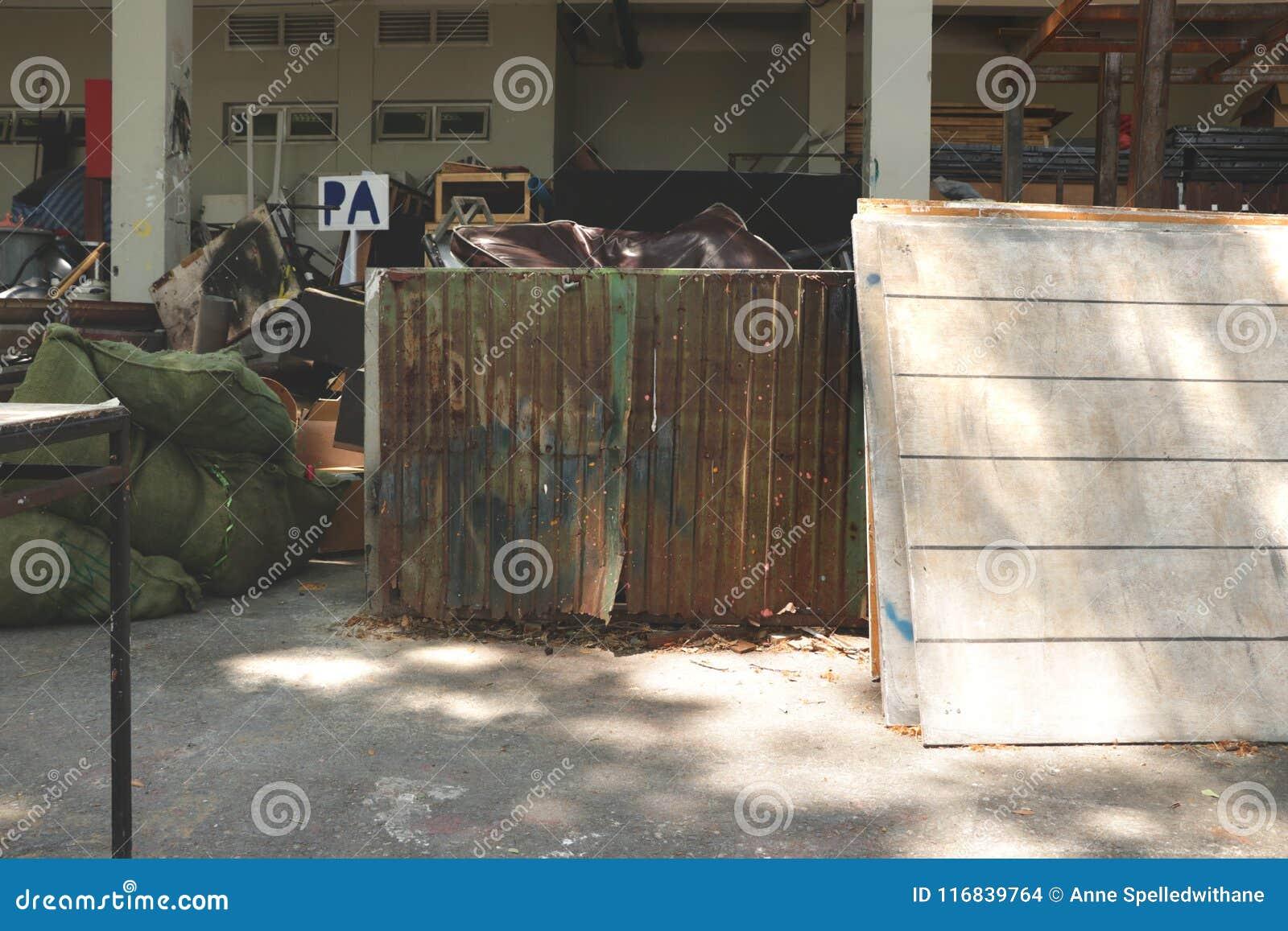 Messy Outdoor Studio Garage Backyard Junkyard With Rusty Old Zinc
