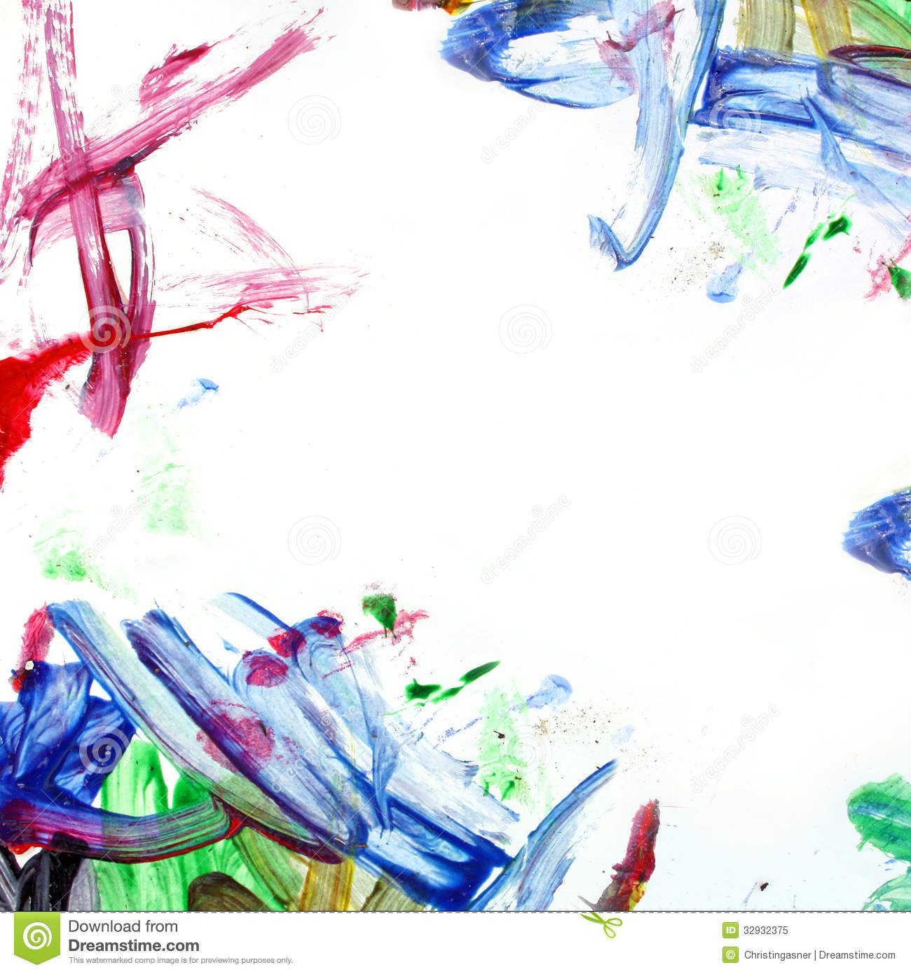 ... by a border that a child has painted in a scribbled and messy manner