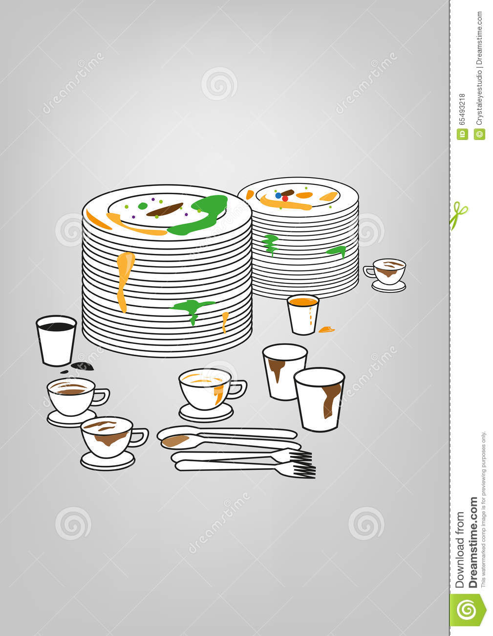 Messy Plates and utensils. Kitchen Cleaning Supply concept. Editable Clip Art