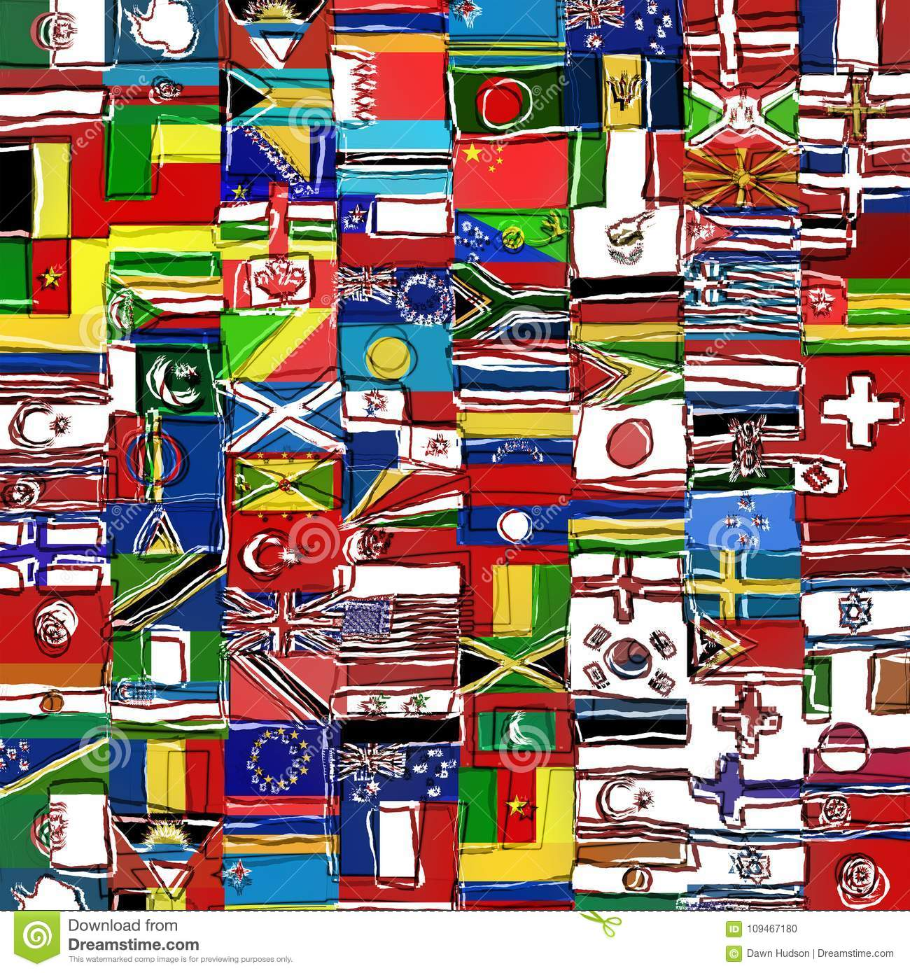 Messy Sketchy World Flag Montage