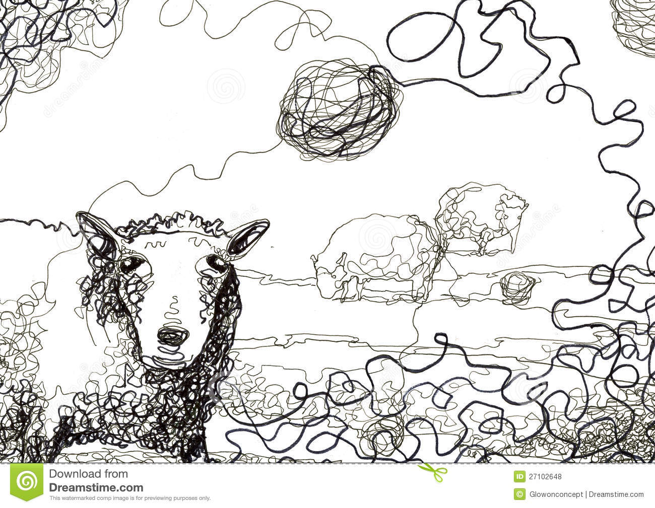 Line Drawing Sheep : Messy thread and sheep drawing stock illustration image