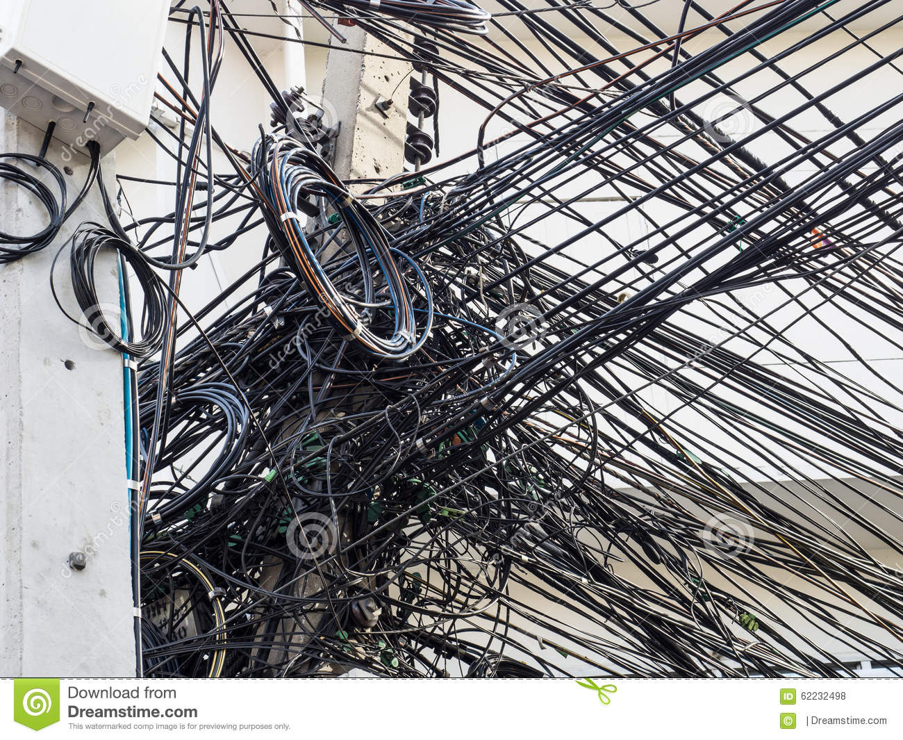 Messy Wire On Electricity Post Stock Photo - Image: 62232498