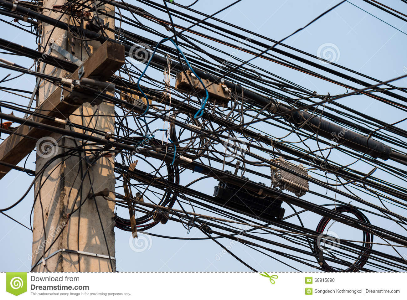 Messy Wire On Electricity Post Stock Photo Image Of Network Wiring