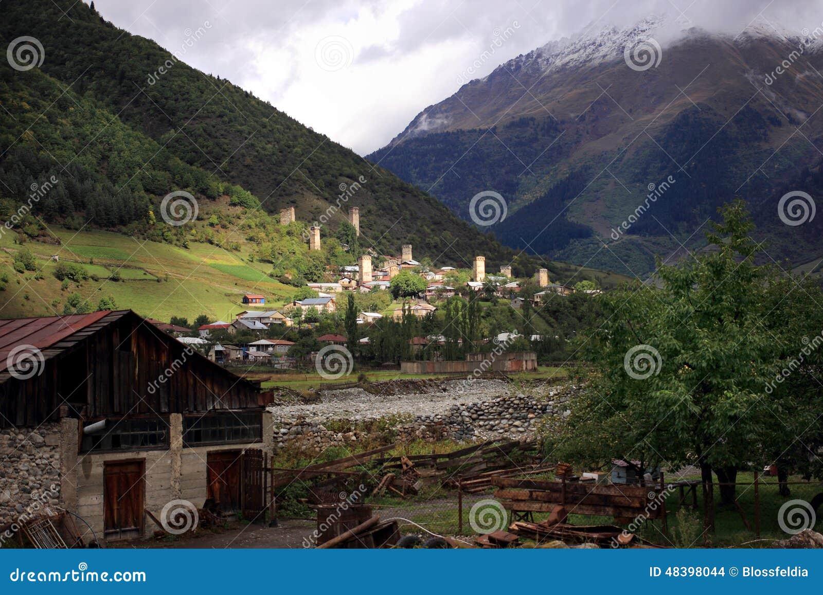 Mestia city stock photo  Image of cultural, region, mountains - 48398044